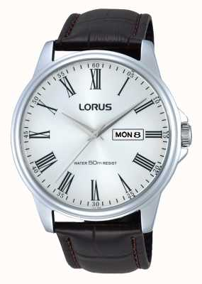 Lorus Mens Stainless Steel Brown Leather Strap Watch RXN11DX9