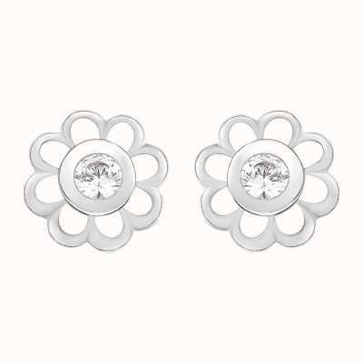 Perfection Swarovski Single Stone Flower Mounted Stud Earrings (0.15ct) E2142-SK