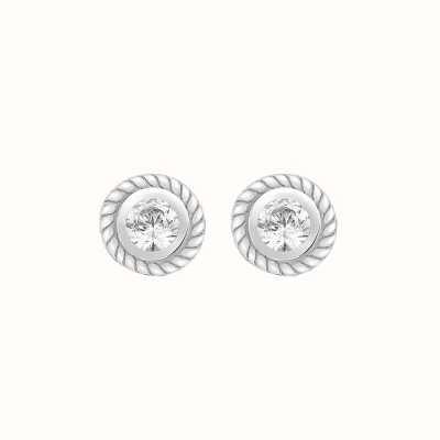 Perfection Swarovski Single Stone Rubover Ornate Stud Earrings (0.05ct) E2144-SK