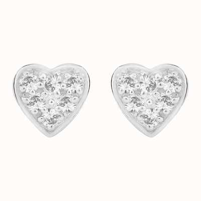 Perfection Swarovski Heart Shaped Pavé Set Stud Earrings (0.15ct) E2419-SK