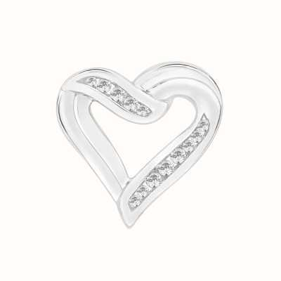 Perfection Swarovski Heart Pendant With Part Channel Setting (0.25ct) P3038-SK