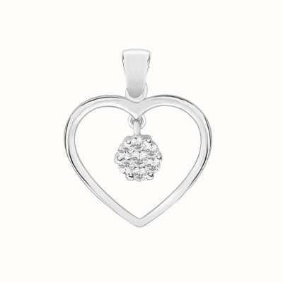 Perfection Swarovski Heart Pendant With Swinging Cluster (0.25ct) P4122-SK