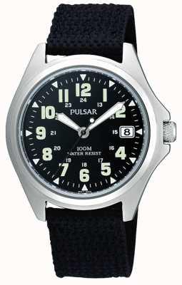 Pulsar Mens Black Canvas Strap Watch PS9045X1