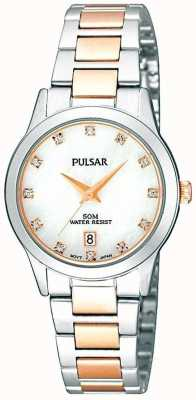 Pulsar Womens' Two-Tone Pearl Dial Crystal-Set Watch PH7313X1