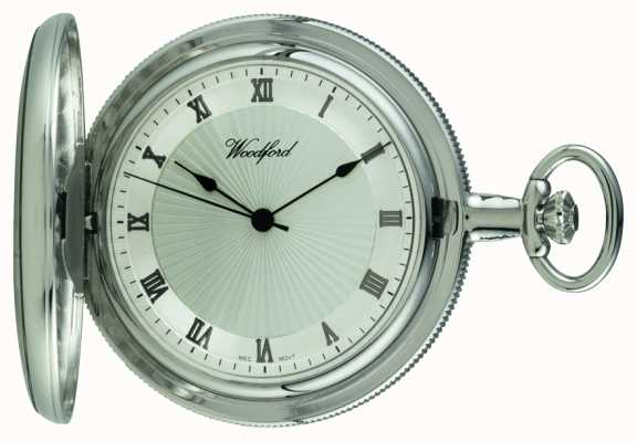 Woodford Chrome Silver Dial Full Hunter Mechanical Pocket Watch 1054
