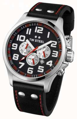 TW Steel Mens Pilot Stainless Steel Black & Red Chrono TW0415