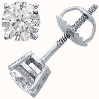 Certified Diamond Earrings Four Claw 0.66ct H SI Screw Back Fittings C66PT-4CLAW-HSI