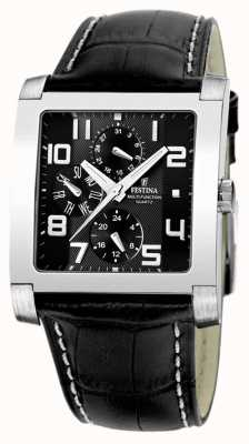 Festina Mens Stainless Steel Black Multi Dial Black Leather Watch F16235/F