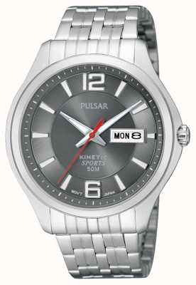 Pulsar Mens Kinetic Sport Stainless Steel Grey Dial Watch PD2035X1