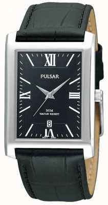 Pulsar Mens Stainless Steel Black Rectangular Dial Leather Watch PXDB71X1