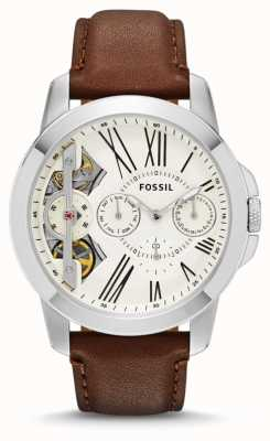 Fossil Mens Grant White Dial Brown Leather Strap Watch ME1144