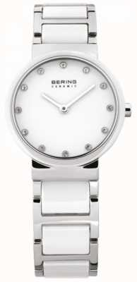 Bering Womens White Ceramic, Steel, Crystal Watch 10729-754