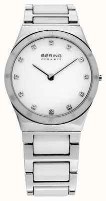 Bering Womens, Steel, White Ceramic, Crystal Watch 32230-764