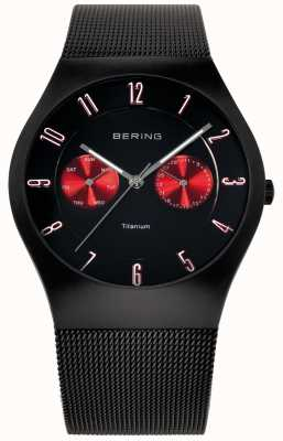 Bering Mens Titanium Black Red Accent Mesh Strap Watch 11939-229