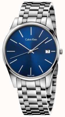Calvin Klein Mens Time Blue Silver Watch K4N2114N