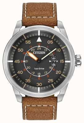 Citizen   Mens Eco-Drive Avion WR100   Brown Leather Strap   AW1361-10H