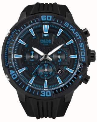Pulsar Mens X Chronograph Black and Blue PT3507X1