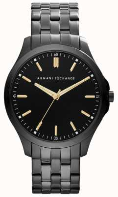 Armani Exchange Mens Smart IP Plated Black Dial Gold Accents AX2144