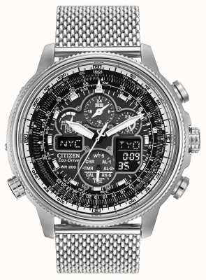 Citizen Mens Navihawk A-T Stainless-Steel Black Dial Watch JY8030-83E