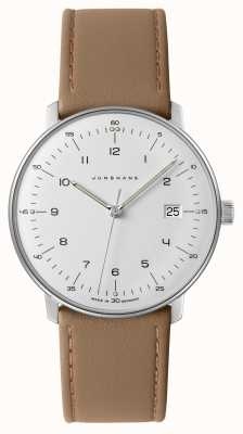 Junghans Mens Max Bill, White Dial Beige Leather Watch 041/4562.00