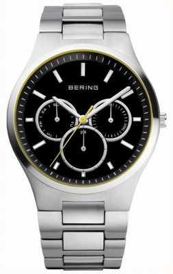 Bering Mens Black Dial, Yellow Accent, Multi Dial 13841-702