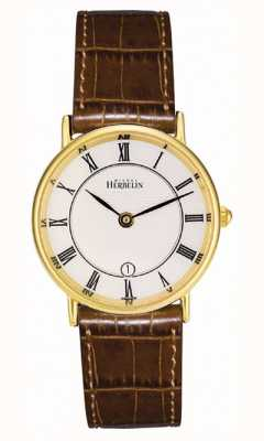 Michel Herbelin Womens Gold Plated Classic Leather Strap 16845/P08GO