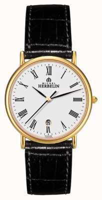 Michel Herbelin Mens Sonates, Gold Plate, Black Leather Watch 12443/P01