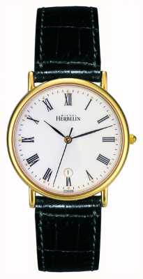 Michel Herbelin Mens Sonates, Gold Plate, Black Leather Watch 12443/P01