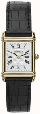 Michel Herbelin Womens Leather Strap Gold Tone Case Roman Num 17478/P08