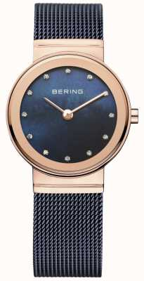 Bering Womens Blue Mesh PVD Rose Gold Case 10126-367