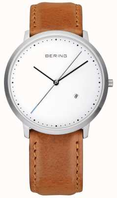 Bering Mens Brown Leather Strap White Dial 11139-504