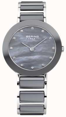 Bering Womens Grey Ceramic, Pearl Dial, Crystal 11429-789