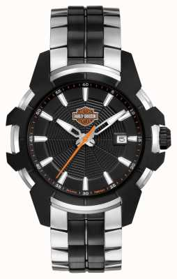 Harley Davidson Mens Spider Web | Two-Tone Steel Bracelet | Black Dial 78B124