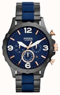 Fossil Mens Nate Chronograph Black IP Navy Watch JR1494
