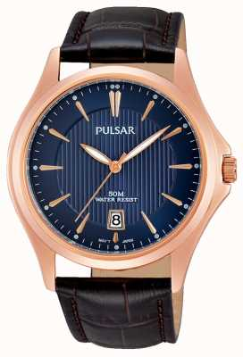 Pulsar Mens Brown Leather Strap Blue Dial PS9388X1