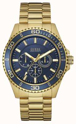 Guess Mens Chaser Gold Stainless Steel Blue Dial W0172G5