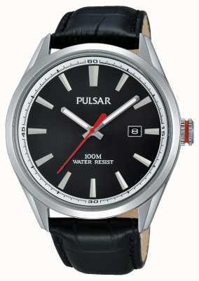 Pulsar Mens Black Leather Strap Black Dial PS9375X1