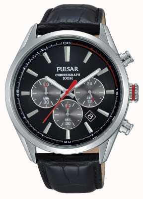 Pulsar Mens Chrono Black Leather Strap Black Dial PT3729X1