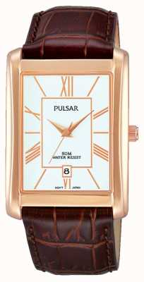 Pulsar Mens Brown Leather Strap White Dial PG8248X1