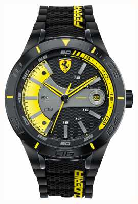 Scuderia Ferrari Red Rev Evo Black Silicone Black Yellow Dial 0830266
