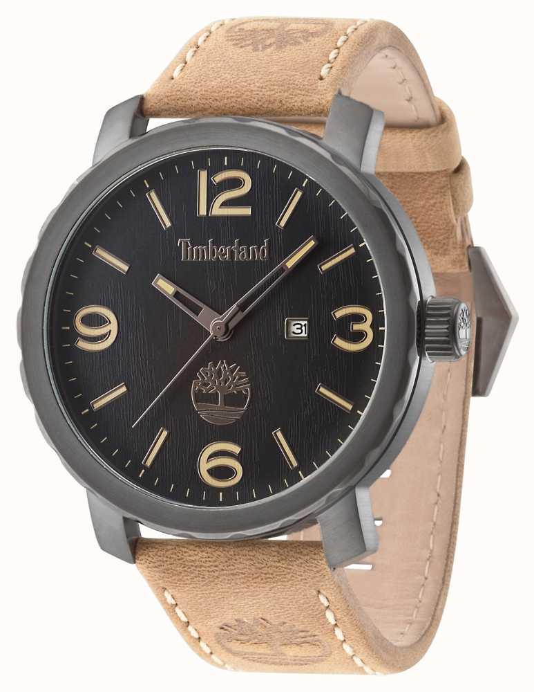 Timberland Mens Pinkerton Brown Leather Strap Black Dial 14399XSU 02 ... 99d7ee786ce