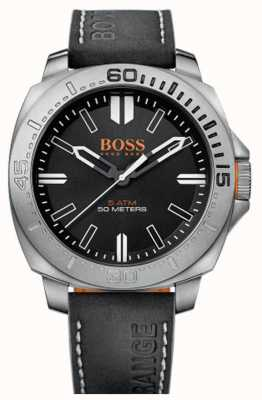 Hugo Boss Orange Gents Sao Paulo Black Leather Strap Watch 1513295