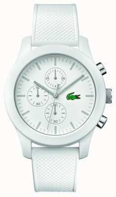 Lacoste Mens 12.12 Chrono White Rubber Strap white dial 2010823