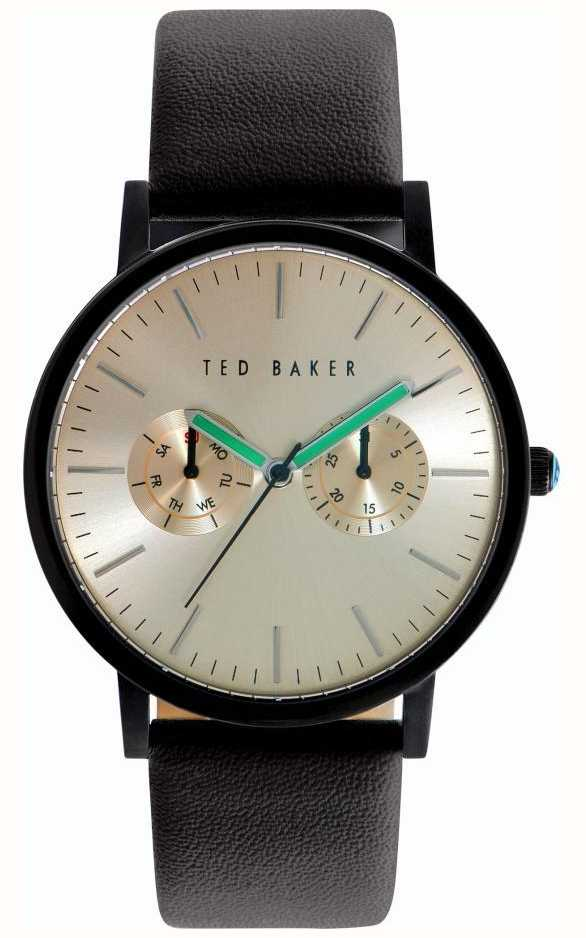 74435b6926b2 Ted Baker Mens Black Leather Strap Gold Tone Dial TE10024529 - First ...