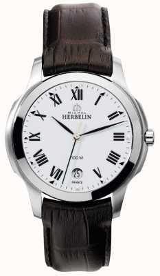 Michel Herbelin Mens Ambassador Brown Leather Strap 12239/01MA