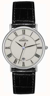 Michel Herbelin Mens Sonates Black Leather Strap 12443/S08