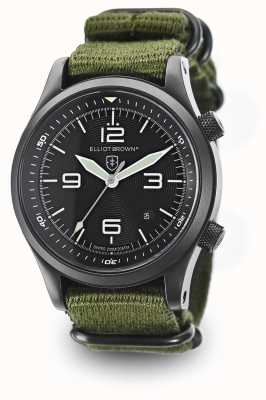 Elliot Brown Mens Canford Green Nylon Strap Black Dial 202-004-N01