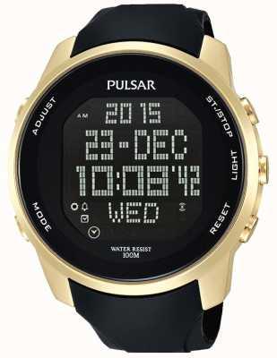 Pulsar Mens Digital Gold Plated Case Black Rubber PQ2048X1