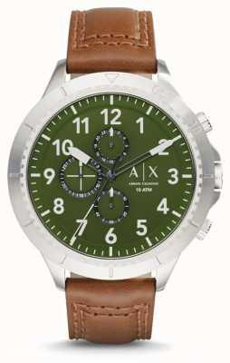 Armani Exchange Mens Light Brown Leather Strap AX1758