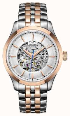 Rotary Mens Two Stone Strap Rose Gold Plated Case GB05034/06